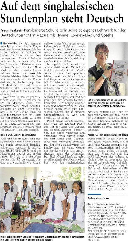 Artikel in der Rheinzeitung von 15.08.2015